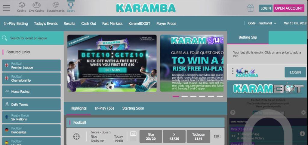 screenshot of karamba website